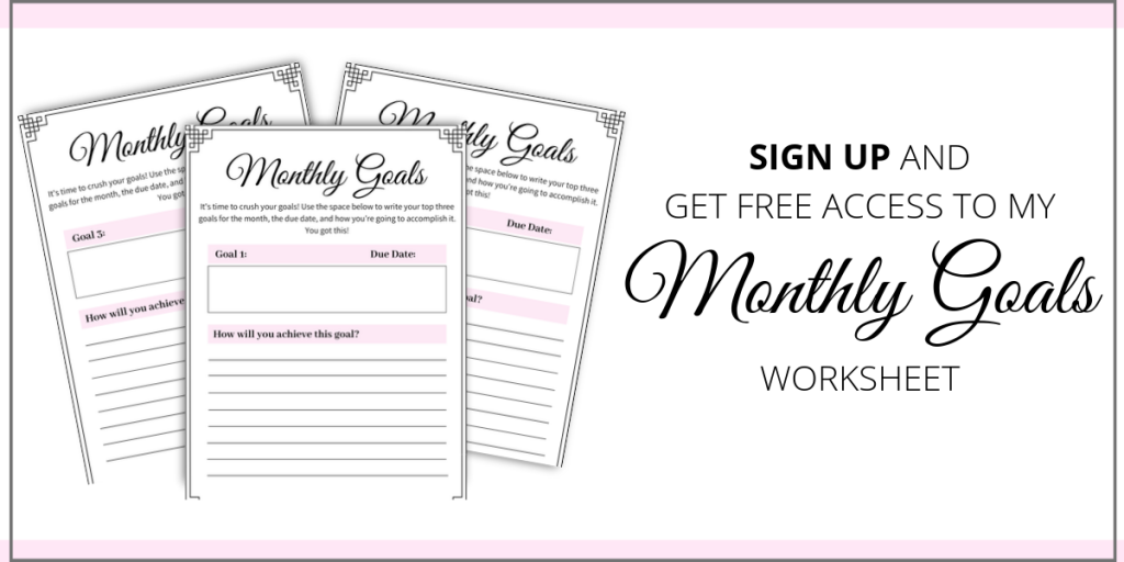monthly goals worksheet