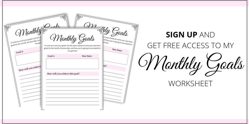 monthly goals worksheet