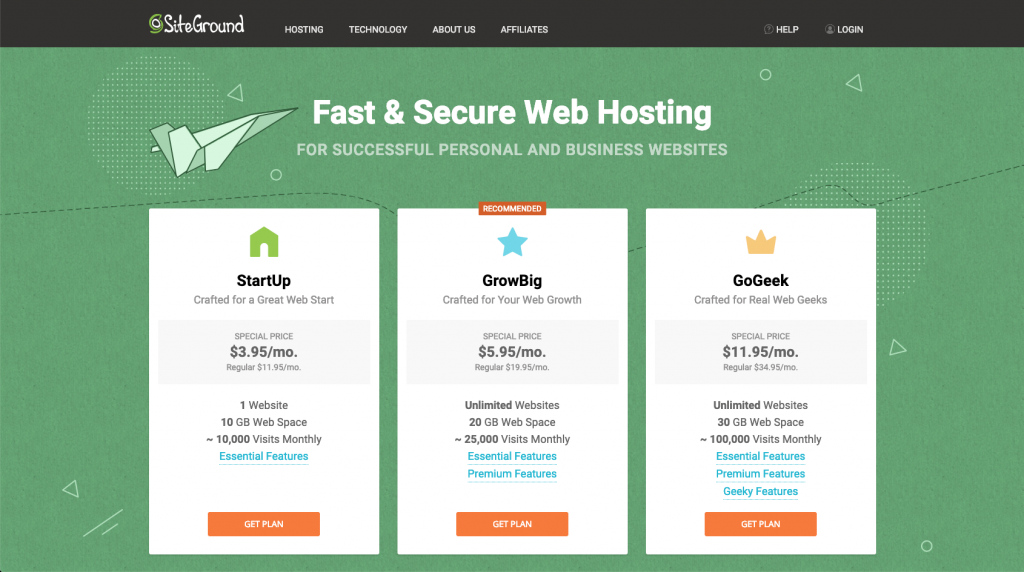 StartUp Plan for Siteground Hosting